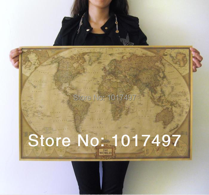 Retro English World Map Home decor wallpaper Poster , Classical Vintage wall decoration 72.5CM*47.5CM,map20 - walls tale store