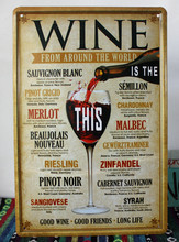 WINE FORM AROUND THE WORLD Ancient Metal Poster Wall Decor Bar Home Vintage Craft Gift Art 20x30cm Iron painting Tin(China (Mainland))
