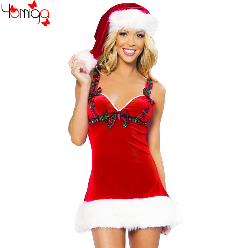 2 pieces/set fantasy sexy christmas costumes sets cheap cos play new year female costume dress straps xmas sexy santa costume(China (Mainland))