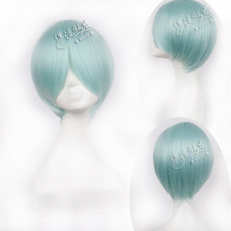 Гаджет  anime wig COS face hair nylon hair  Light blue  None Изготовление под заказ