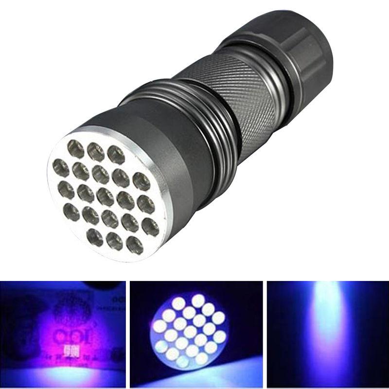 Skywolfeye UV Ultra Violet 21 LED Flashlight Mini Blacklight Aluminum Torch Light Lamp VEM47 P29(China (Mainland))