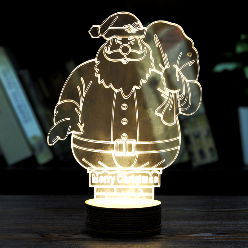 2016 Christmas decoration 3d stereoscopic visual creative atmosphere of Santa Claus table lamp bedroom decoration LED nightlight(China (Mainland))
