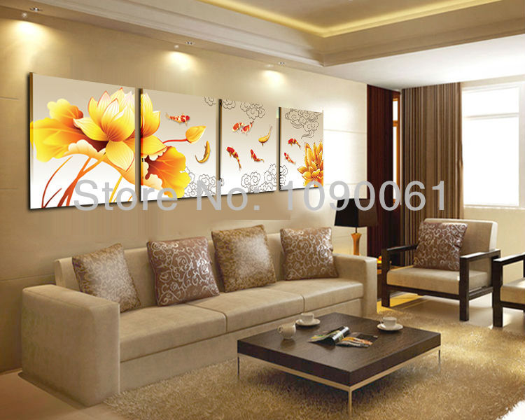 Hand painted 4 piece koi fish lotus oil painting abstract for Dining room paintings sale