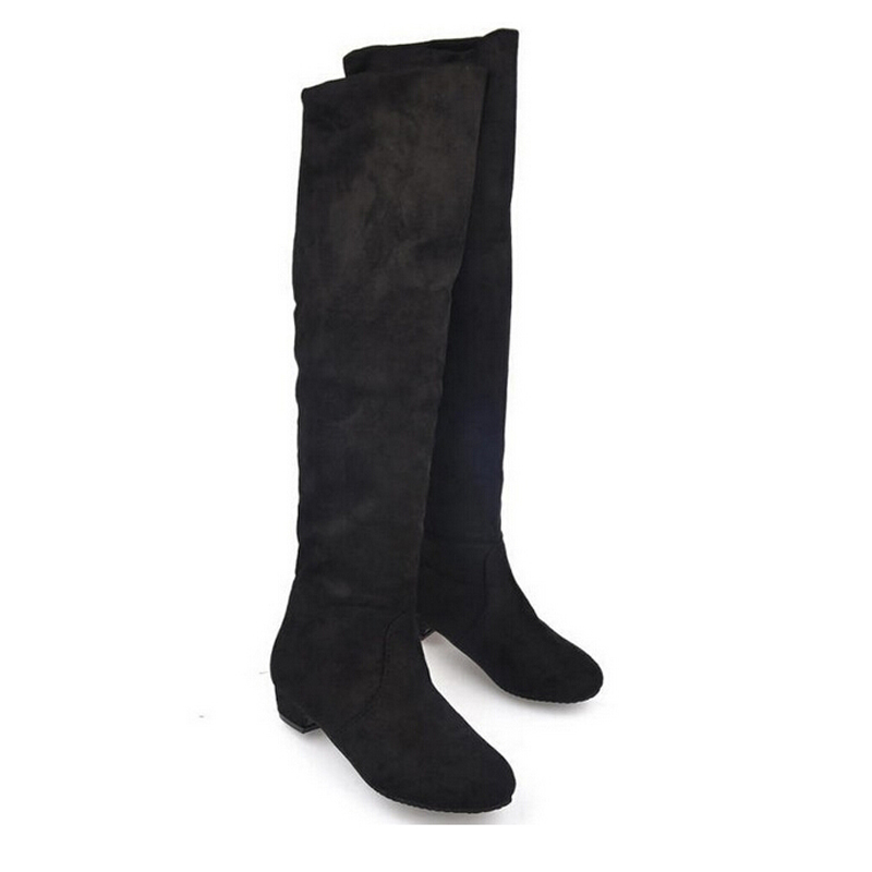 new 2014 boots flock thigh high boots low heel