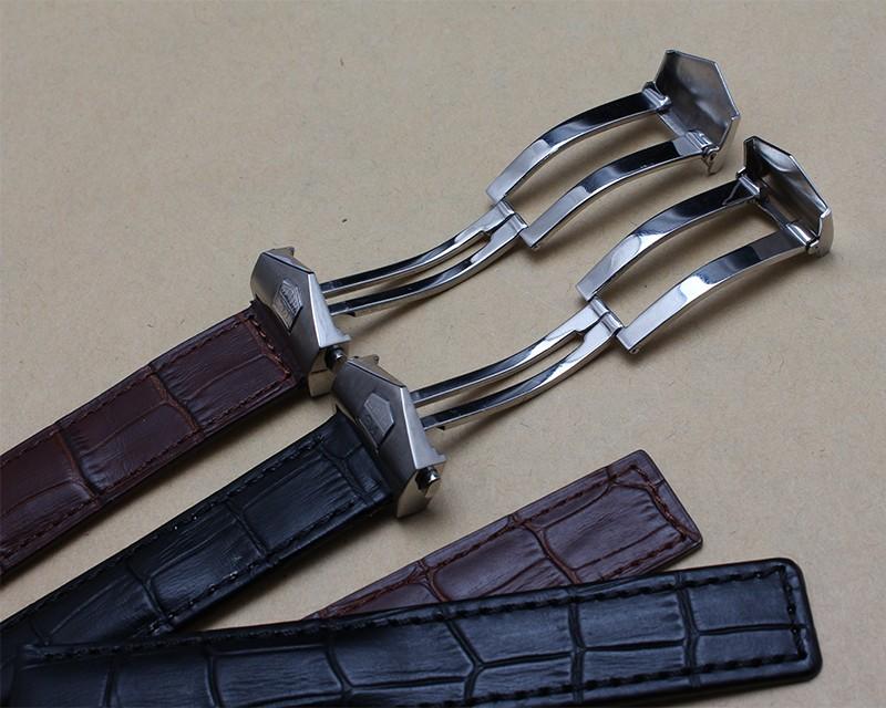 Часы Аксессуары 20 мм 22 мм Высокое Качество Черный Крокодил зерна Кожаный Ремешок С Пряжкой Из Нержавеющей стали