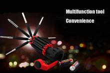8 en 1 multifunción alta calidad destornillador integrado Flashlight portátil de acero inoxidable herramientas de reparación de juego de destornilladores