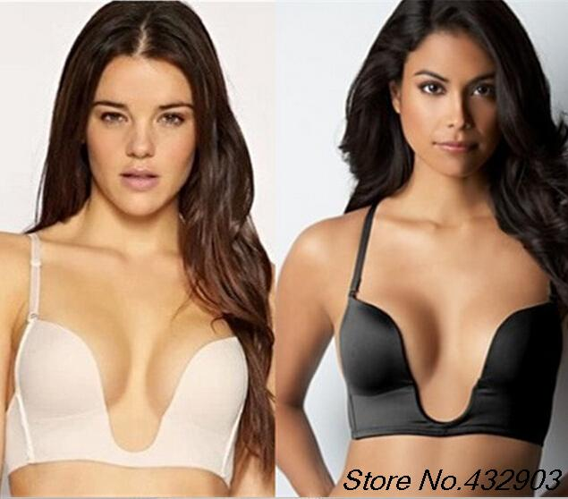 Intimates New Deep U Plunge Bra Invisible Racerback Push Up Bra BCD CUP For Formal Dress For Wedding/Evening.Free Shippping(China (Mainland))