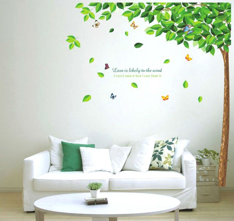 1pcs green tree beautiful decals art wall stickers - Wall stickers for living room ...