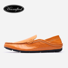 Full grain leather men loafers 35~47 hecrafted top quality brand handmade flats #8128(China (Mainland))