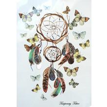 2016 nova moda quente impermeável tatuagem temporária adesivos 21 X 15 CM Dreamcatcher com bonito borboleta