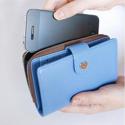 Women's wallet 2013 short design zipper wallet multifunctional iphone4 s mobile phone bag