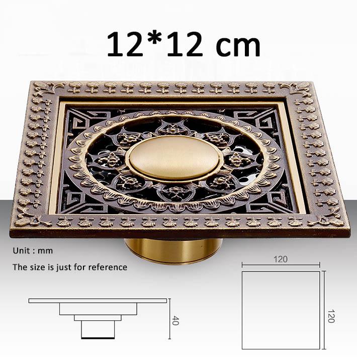 12*12cm New Arrival Antique Bronze finish Fashion design Euro Square floor drains shower drain bathroom furniture washer drainer(China (Mainland))