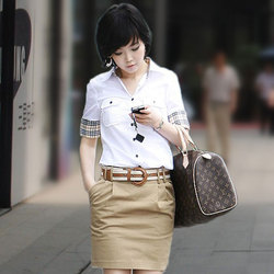 Formal Shirt Plaid Patchwork Short Sleeve Career Shirt Front Pocket Women Tops Blouses Summer
