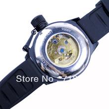 Mens Sport Automatic Mechanical Watch Wrist Watch Black Rubber Belt Blue Dial