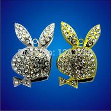 Retail novelty jewelry crystal Animal USB Flash Drives rabbit pen drive memory stick disk gift 2G 4GB 8GB 16GB 32GB Freeship