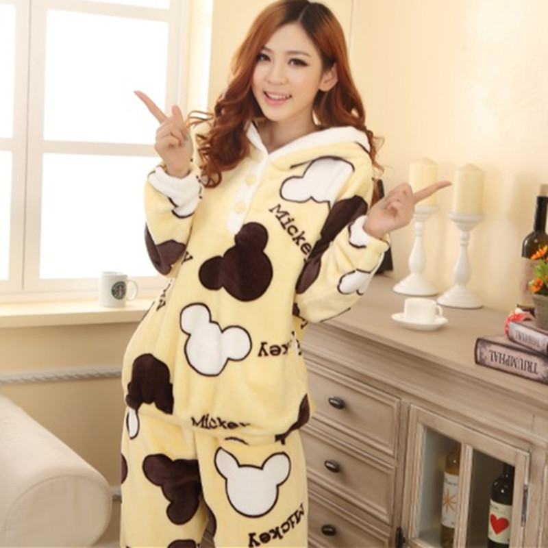 women's autumn and winter thickening flannel sleepwear cartoon with a hood lounge set thick warm pajamas for women plus size(China (Mainland))