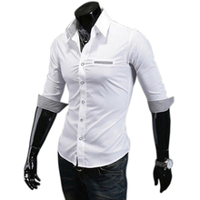 Free Shipping ! 2013 spring New Fashion Casual slim fit long-sleeved men's dress shirts Korean Leisure styles shirt M-XXL C14