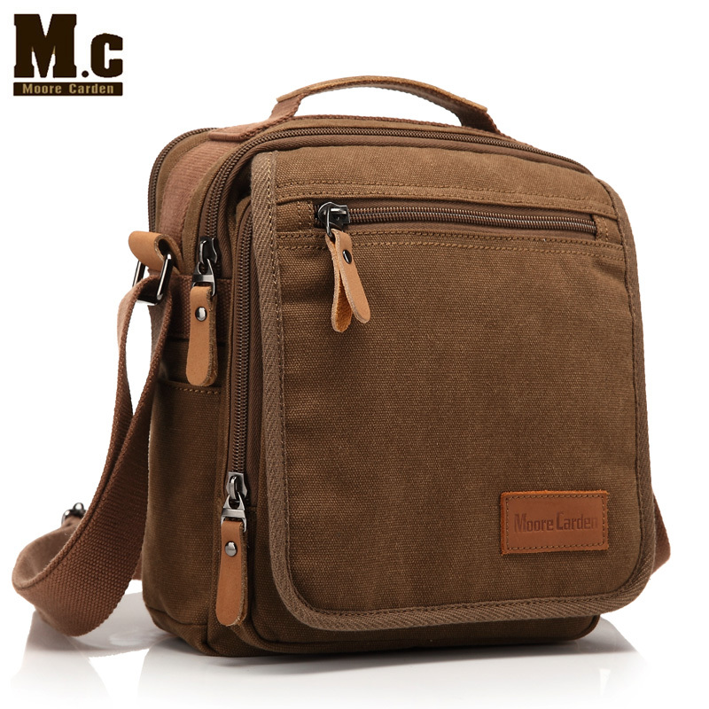MC brief fashion horizontal brown Canvas men messenger shoulder bag student bag free shipping(China (Mainland))