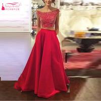 Vestido de festa Red Two Piece Evening Dresses Prom Dress Long Elegant Homcoming Dresses Arabic Evening