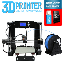 2016 Newest Discount Updated Size 220*220*250mm Anet A6 3D Printer Kit Reprap Prusa i3 DIY 1Roll Filament 16GB SDCard Free