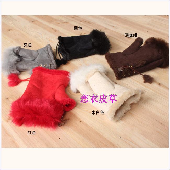 Rabbit fur gloves semi-finger gloves thermal gloves winter mittens women's fashion long gloves(China (Mainland))