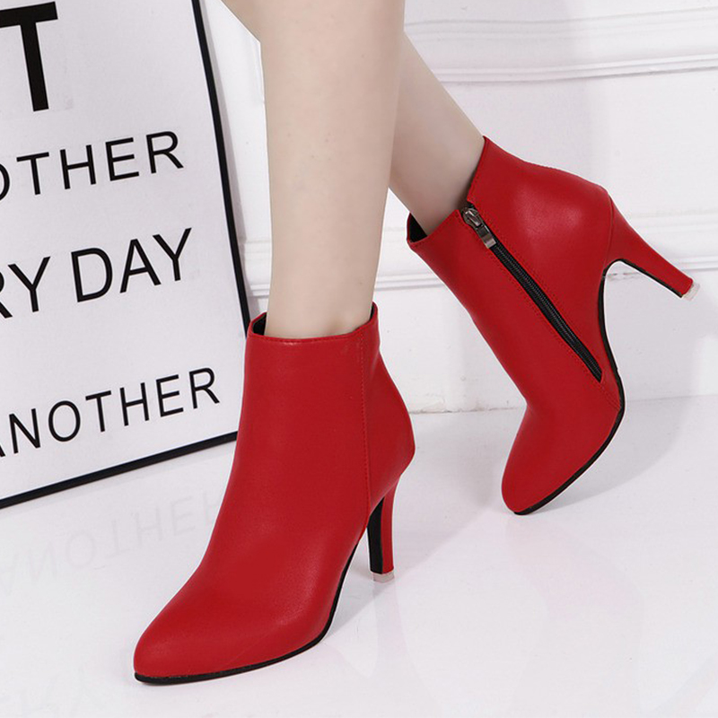 Гаджет  Fashion High Heel Boots Zipper Leather Ankle Boots For Womens Boots Winter 2015 Black Red Ladies Boots None Обувь