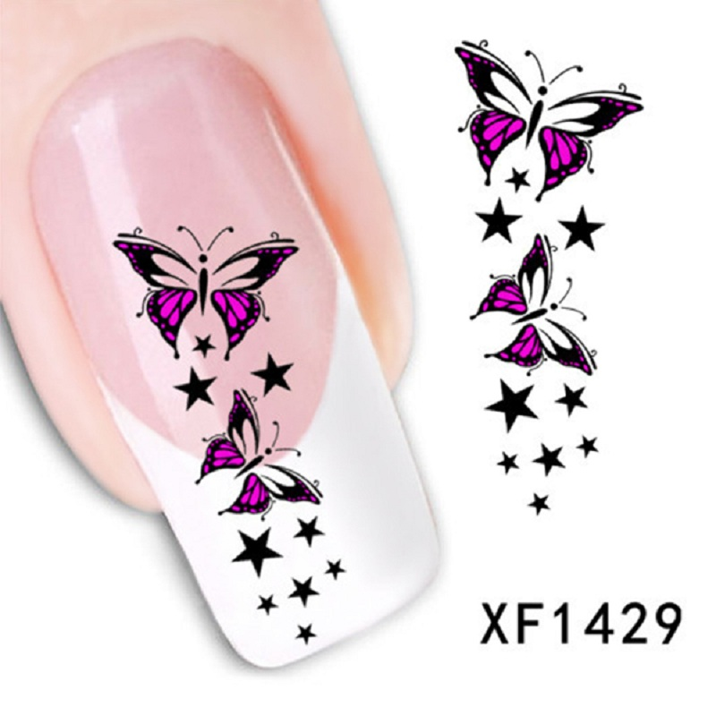 Гаджет  1 Sheet Lovely Colorful Butterfly Star Nail Tips Water Decals Art Transfer Stickers Nail XF1429 Brand New Safe And Non-toxic None Красота и здоровье