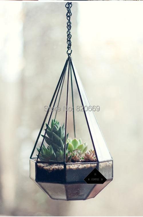 Hanging Diamond glass vase plant flowerpot plant bonsai glass bottle ...