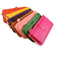 Candy Color Leather Women Wallets Fashion Color Edge Lychee Emboss Zipper Long Wallets Multifunction Female Clutch Purses