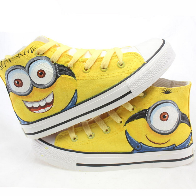 Гаджет  2015 New Arrival Boys & Girls Special Minions Canvas Kids Brand Hand Painted Cartoon Shoes High Top Sneakers For Family , LJ020 None Детские товары