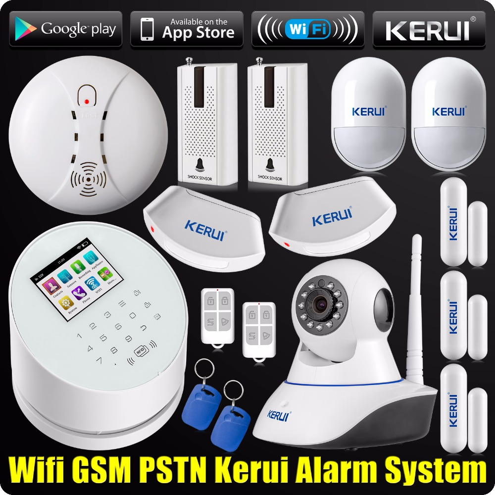 DHL Free Shipping WiFi GSM PSTN RFID Security Alarm System Wifi IP Camera ISO Android App Smoke Detector Curtain Sensor(China (Mainland))