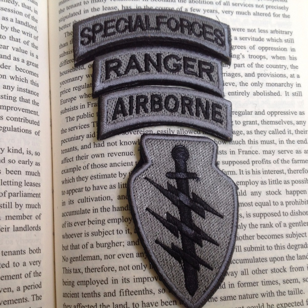Special Forces Gray Patch/ Special Forces & Airborne & Ranger Tabs w/velcro(China (Mainland))