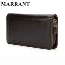 MARRANT 2016 Genuine Leather Men Wallets New Man Wallet Double Zipper Men Purse Fashion Male Long Wallet Man's Clutch Bag 9013(China (Mainland))