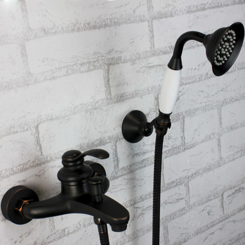 Фотография Wall Mounted Bathroom Shower Mixer Faucet Single Handle Handheld Shower Faucet Tap with Hand Shower + Bracket