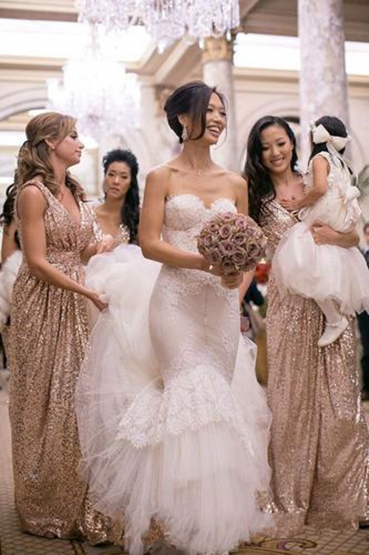 bling rose gold 2015 cheap bridesmaid dresses for beach