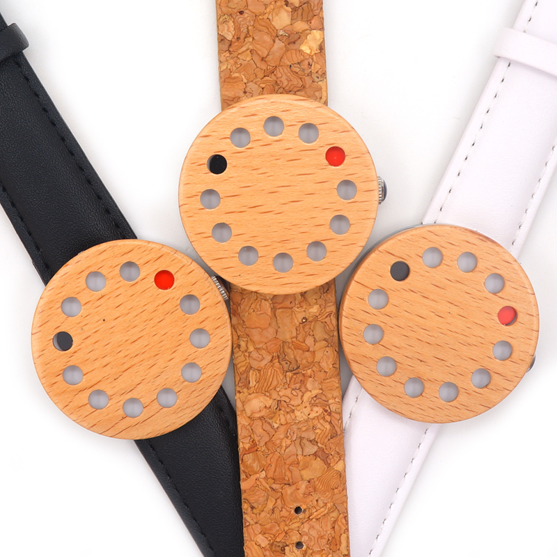 Newest BoboBird Brand 12 Holes Design Wooden Watches Cool Causal quartz watch leather band Wood as Christmas Gift accept OEM(China (Mainland))