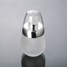 30ml frosted glass lotion bottle with silver press pump bottle