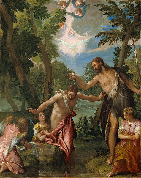 Canvas Art Prints Fabric Wall <font><b>Decor</b></font> Giclee Oil Painting Paolo Veronese paolo Caliari Workshop <font><b>italian</b></font> - Baptism Of Christ