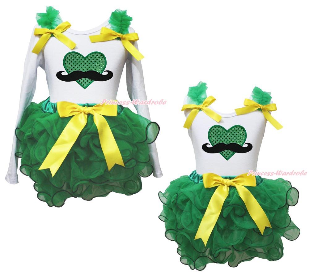 St Patrick Mustache Heart White Top Kelly Green Girls Petal Pettiskirt Set NB-8Y(Hong Kong)