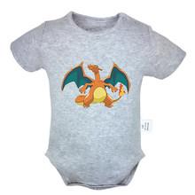 Pokemon Charizard Стрекоза Черная вуаль Brides Crew BVB дизайн для новорожденных мальчиков и девочек униформа-комбинезон боди для младенцев Одежда(China)
