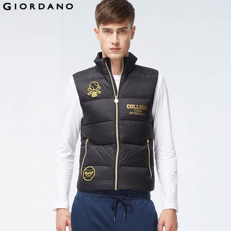 Giordano Men Winter New Quality Warm Puffer Down Vest Waterproof Mens Sleeveless Jacket Male Waistcoats Free