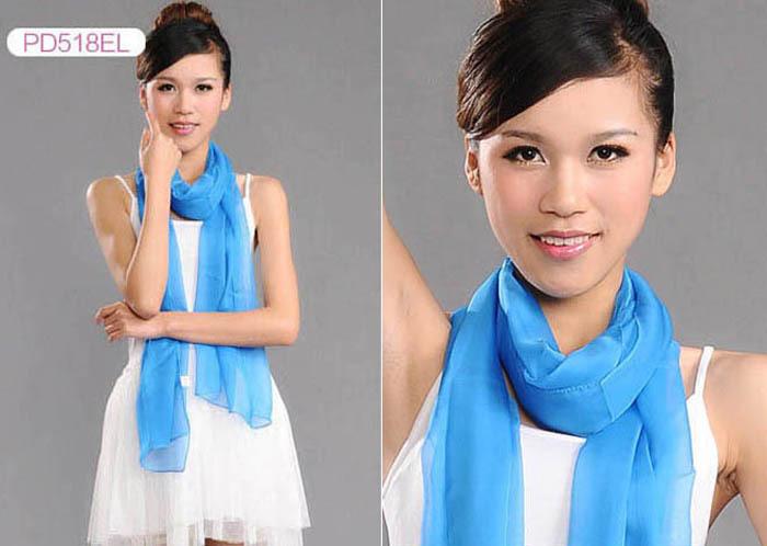 Lady Women scarves long Soft Silk Chiffon candy Scarf Wedding Party High Quality scarves Wrap Shawl Stole blues L001(China (Mainland))