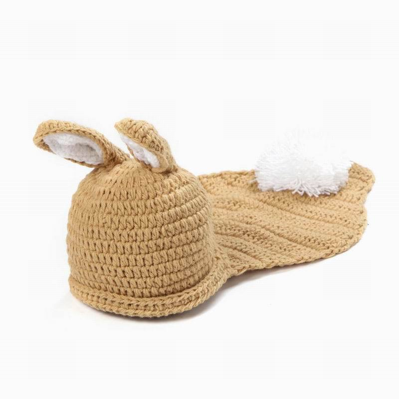 Beige&White Rabbit Handmade Cotton Baby Knit Hat Clothes Costume Beanies Newborn Photography Prop(China (Mainland))