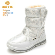 girls' boots 2016 winter's new kids snow boots kids shoes children warm fur waterproof daughter white brand girls fashion shoes(China (Mainland))
