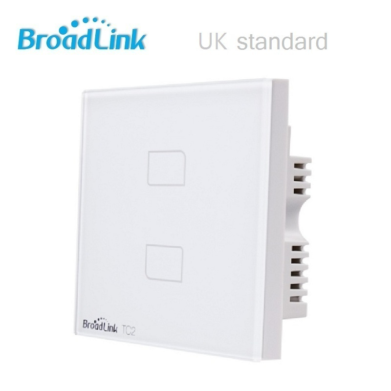 Broadlink TC2 UK Version 2Gang Smart switch,smart home Automation,Remote control via Broadlink RM Pro,Crystal Touch Wall Switch