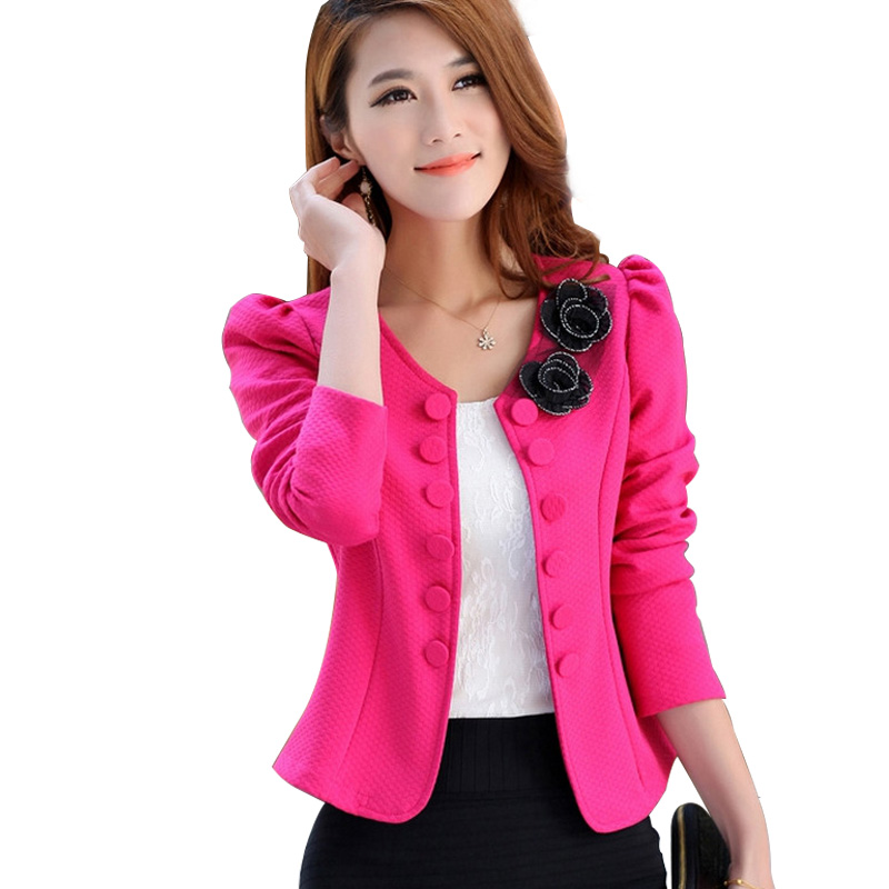 Women Blazer Spring Slim Elegant Double Breasted Short ...
