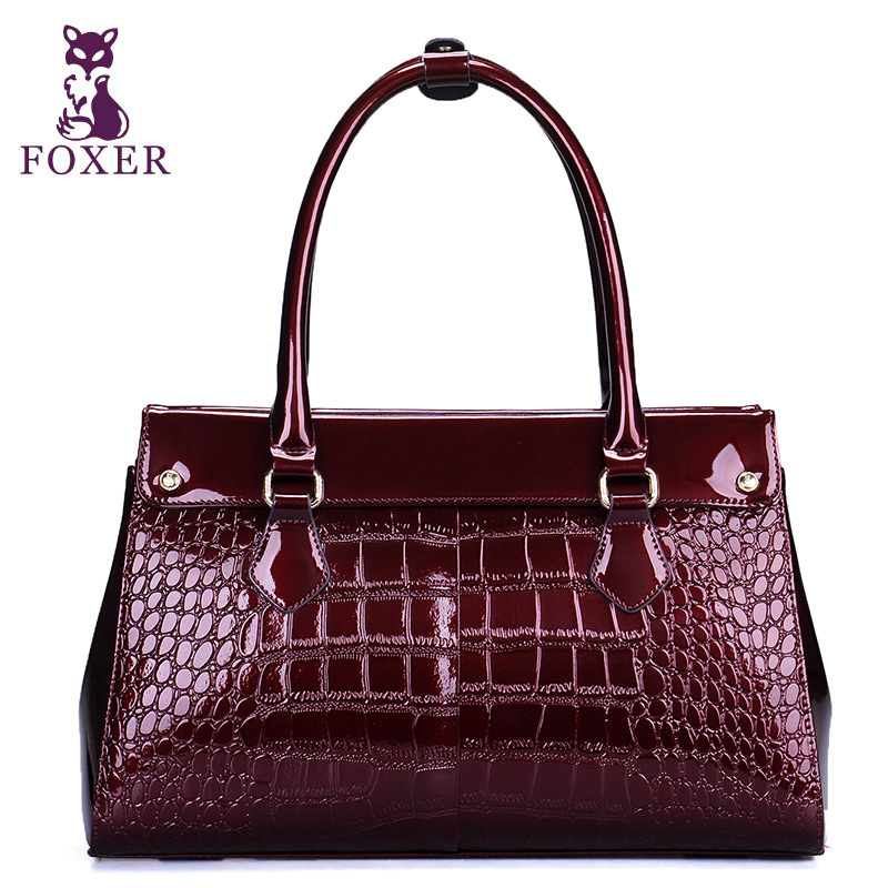 FOXER women leather handbags crocodile pattern wristlets genuine leather bags ladies famous brands totes vintage evening bags(China (Mainland))