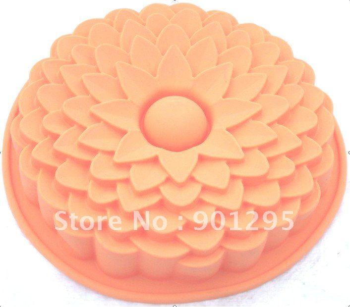 MIN$30 Wholesale - free shipping 1pc /lot big sunflower silicone baking tray flower bake pan gigantic cake pan pie pan(China (Mainland))