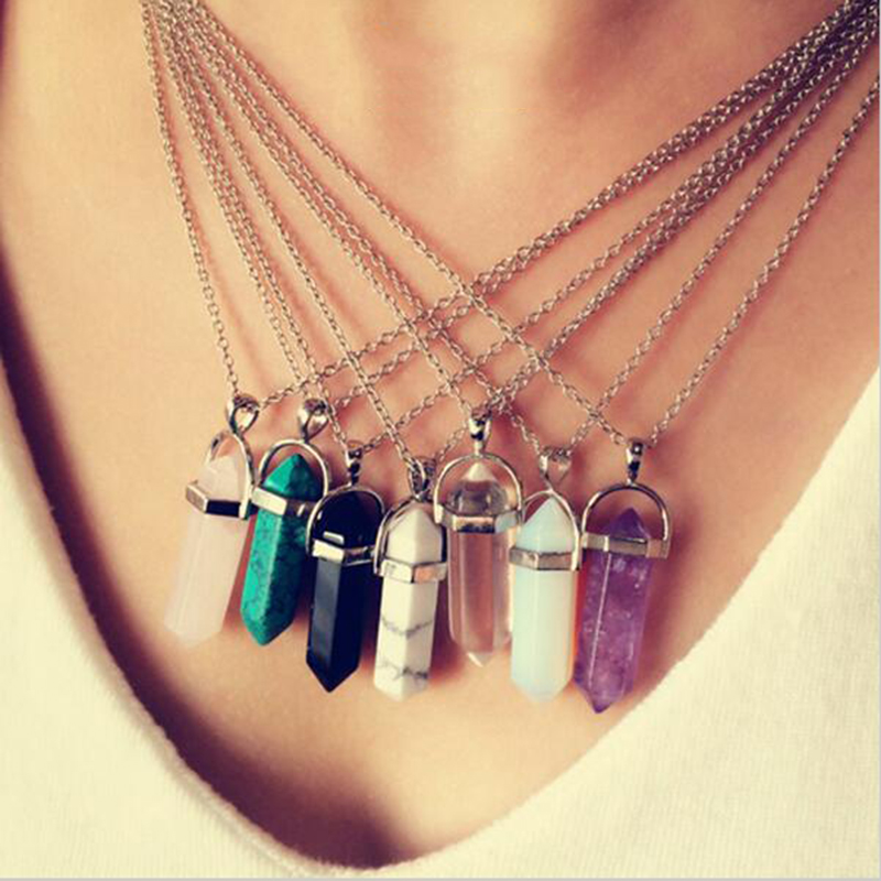2016 New Necklace Selling Six Prism Imitation Natural Stone Pendant Chain Pendant Jewelry Accessories Women Necklaces