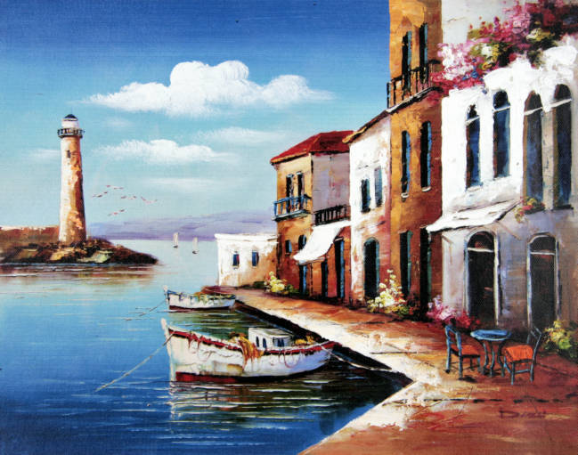 Aegean Sea with Boat and Lighthouse Art Reproduction Oil Painting Canvas Prints Home Goods Wall Art Decoration(China (Mainland))